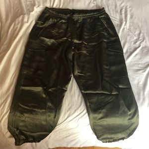 Zara olive green satin cargo pants